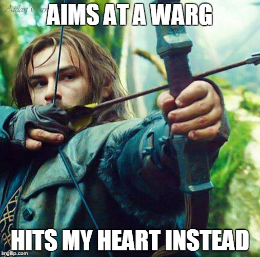 Handsome Dwarf Prince | AIMS AT A WARG HITS MY HEART INSTEAD | image tagged in the hobbit,archery,love | made w/ Imgflip meme maker