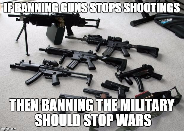 guns | IF BANNING GUNS STOPS SHOOTINGS THEN BANNING THE MILITARY SHOULD STOP WARS | image tagged in guns | made w/ Imgflip meme maker