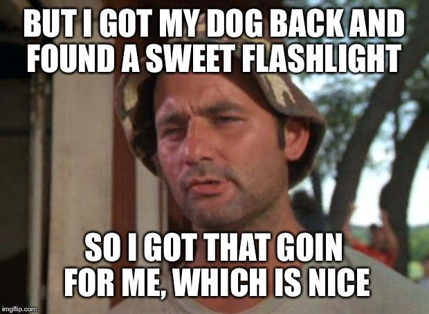 So I Got That Goin For Me Which Is Nice Meme | BUT I GOT MY DOG BACK AND FOUND A SWEET FLASHLIGHT SO I GOT THAT GOIN FOR ME, WHICH IS NICE | image tagged in memes,so i got that goin for me which is nice,AdviceAnimals | made w/ Imgflip meme maker