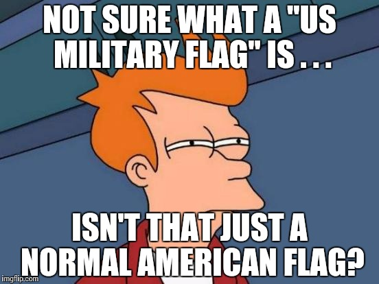 "Futurama Fry Meme | NOT SURE WHAT A ""US MILITARY FLAG"" IS . . . ISN'T THAT JUST A NORMAL AMERICAN FLAG? 