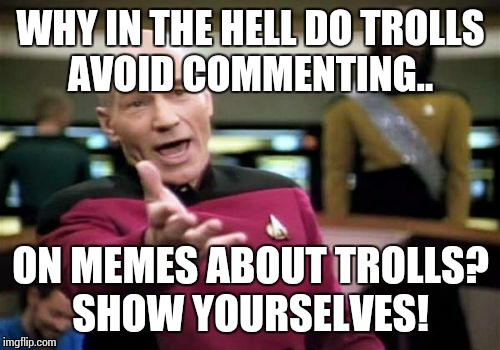Picard Wtf Meme | WHY IN THE HELL DO TROLLS AVOID COMMENTING.. ON MEMES ABOUT TROLLS? SHOW YOURSELVES! | image tagged in memes,picard wtf | made w/ Imgflip meme maker