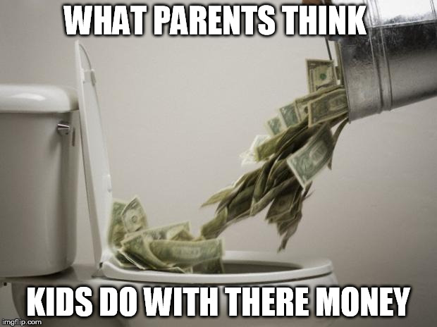money down toilet | WHAT PARENTS THINK KIDS DO WITH THERE MONEY | image tagged in money down toilet | made w/ Imgflip meme maker
