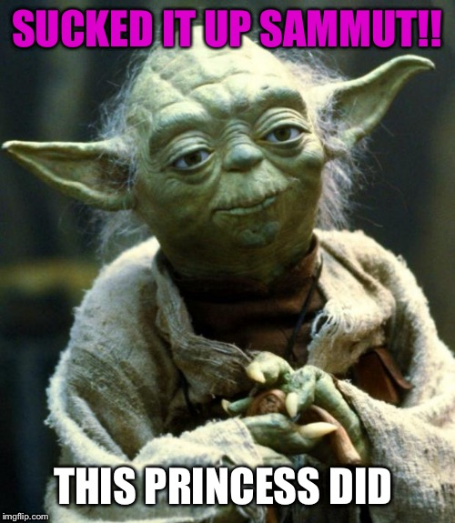 Star Wars Yoda Meme | SUCKED IT UP SAMMUT!! THIS PRINCESS DID | image tagged in memes,star wars yoda | made w/ Imgflip meme maker