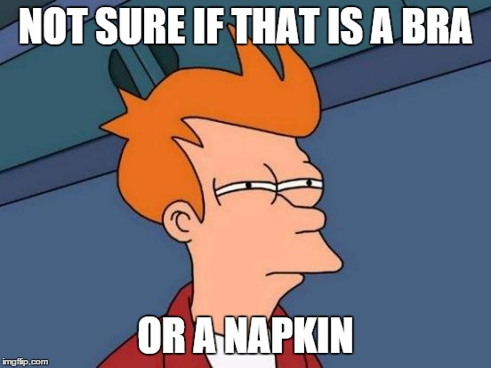 Futurama Fry Meme | NOT SURE IF THAT IS A BRA OR A NAPKIN | image tagged in memes,futurama fry | made w/ Imgflip meme maker