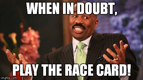 Steve Harvey Meme | WHEN IN DOUBT, PLAY THE RACE CARD! | image tagged in memes,steve harvey | made w/ Imgflip meme maker