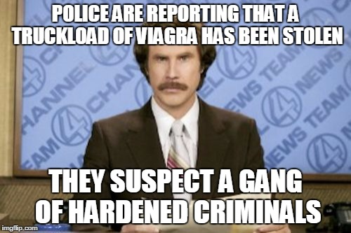 Ron Burgundy Meme | POLICE ARE REPORTING THAT A TRUCKLOAD OF VIAGRA HAS BEEN STOLEN THEY SUSPECT A GANG OF HARDENED CRIMINALS | image tagged in memes,ron burgundy | made w/ Imgflip meme maker