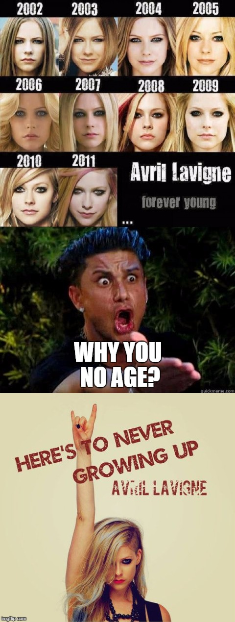 Avril Lavigne Age | WHY YOU NO AGE? | image tagged in avril lavigne,here's to never growing up,age,ageless,forever young | made w/ Imgflip meme maker