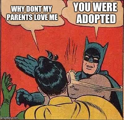 Batman Slapping Robin Meme | WHY DONT MY PARENTS LOVE ME YOU WERE ADOPTED | image tagged in memes,batman slapping robin | made w/ Imgflip meme maker