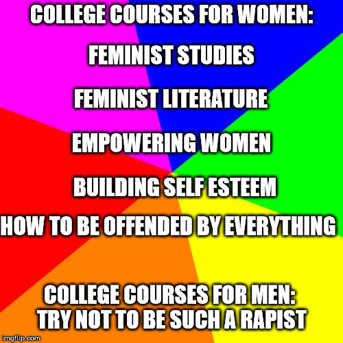 Liberal Arts | COLLEGE COURSES FOR WOMEN: COLLEGE COURSES FOR MEN: TRY NOT TO BE SUCH A RAPIST FEMINIST STUDIES FEMINIST LITERATURE HOW TO BE OFFENDED BY E | image tagged in memes,blank colored background | made w/ Imgflip meme maker