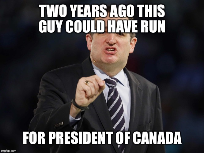 TWO YEARS AGO THIS GUY COULD HAVE RUN FOR PRESIDENT OF CANADA | image tagged in cruz | made w/ Imgflip meme maker