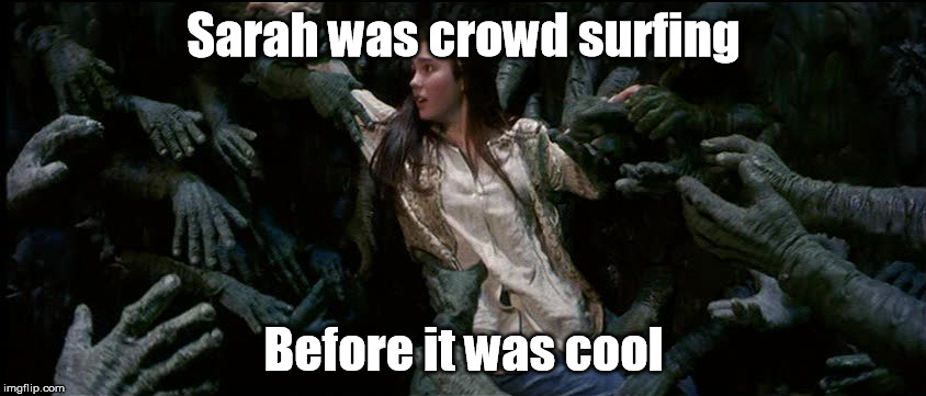 Bowie's Labyrinth Concert | Sarah was crowd surfing Before it was cool | image tagged in david bowie,jim henson,movie | made w/ Imgflip meme maker