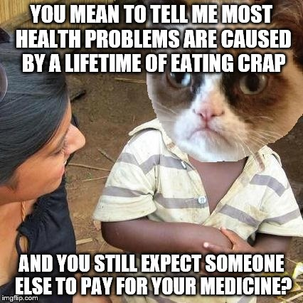Third World Grumpy Cat | YOU MEAN TO TELL ME MOST HEALTH PROBLEMS ARE CAUSED BY A LIFETIME OF EATING CRAP AND YOU STILL EXPECT SOMEONE ELSE TO PAY FOR YOUR MEDICINE? | image tagged in third world grumpy cat | made w/ Imgflip meme maker