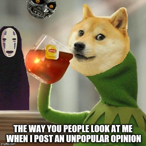yokt4 doge drinking tea with zelda moon and no face memes imgflip