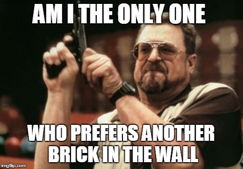 Am I The Only One Around Here Meme | AM I THE ONLY ONE WHO PREFERS ANOTHER BRICK IN THE WALL | image tagged in memes,am i the only one around here | made w/ Imgflip meme maker