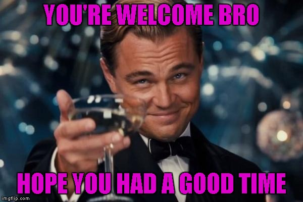Leonardo Dicaprio Cheers Meme | YOU'RE WELCOME BRO HOPE YOU HAD A GOOD TIME | image tagged in memes,leonardo dicaprio cheers | made w/ Imgflip meme maker