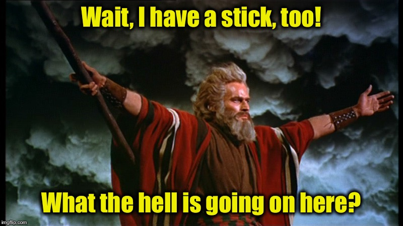 Moses | Wait, I have a stick, too! What the hell is going on here? | image tagged in moses | made w/ Imgflip meme maker