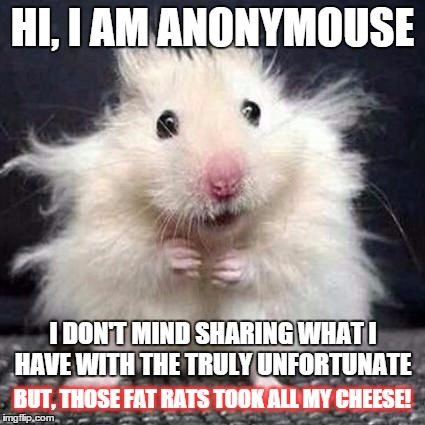 i express my views anonymousely |  HI, I AM ANONYMOUSE; I DON'T MIND SHARING WHAT I HAVE WITH THE TRULY UNFORTUNATE; BUT, THOSE FAT RATS TOOK ALL MY CHEESE! | image tagged in anonymouse,memes,funny memes,political | made w/ Imgflip meme maker