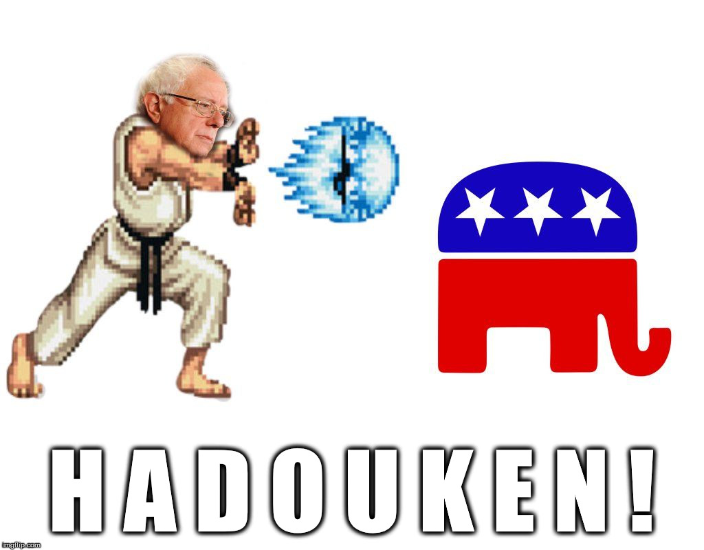 Bernie Sanders Street Fighter | H A D O U K E N ! | image tagged in bernie sanders,street fighter,hadouken,republican,democrat | made w/ Imgflip meme maker