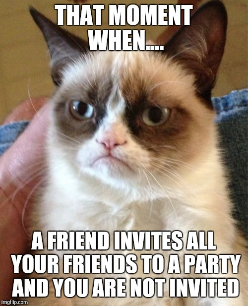 Grumpy Cat Meme |  THAT MOMENT WHEN.... A FRIEND INVITES ALL YOUR FRIENDS TO A PARTY AND YOU ARE NOT INVITED | image tagged in memes,grumpy cat | made w/ Imgflip meme maker