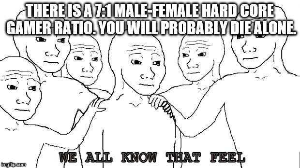 i know that feel bro |  THERE IS A 7:1 MALE-FEMALE HARD CORE GAMER RATIO. YOU WILL PROBABLY DIE ALONE. | image tagged in i know that feel bro | made w/ Imgflip meme maker
