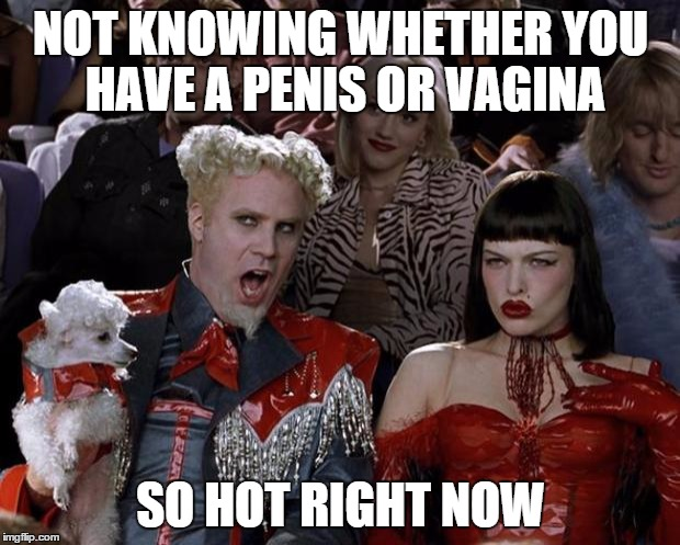 Mugatu So Hot Right Now Meme | NOT KNOWING WHETHER YOU HAVE A P**IS OR VA**NA SO HOT RIGHT NOW | image tagged in memes,mugatu so hot right now | made w/ Imgflip meme maker