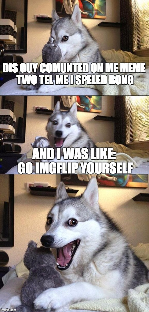 Bad Pun Dog | DIS GUY COMUNTED ON ME MEME TWO TEL ME I SPELED RONG AND I WAS LIKE: GO IMGFLIP YOURSELF | image tagged in memes,bad pun dog | made w/ Imgflip meme maker
