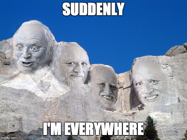 Harold Mt Rushmore | SUDDENLY I'M EVERYWHERE | image tagged in harold mt rushmore | made w/ Imgflip meme maker