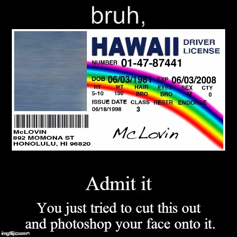 Hawaii ID | bruh, | image tagged in hawaii id,hawaii,driver,license,funny,criminal | made w/ Imgflip meme maker