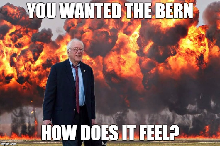 DoomBernie |  YOU WANTED THE BERN; HOW DOES IT FEEL? | image tagged in feel the bern,memes,meme,politics | made w/ Imgflip meme maker