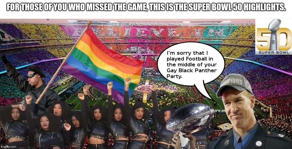 Super Bowl 50... in a nutshell. | FOR THOSE OF YOU WHO MISSED THE GAME, THIS IS THE SUPER BOWL 50 HIGHLIGHTS. | image tagged in super bowl 50,peyton manning,black panther,black lives matter,gay pride | made w/ Imgflip meme maker