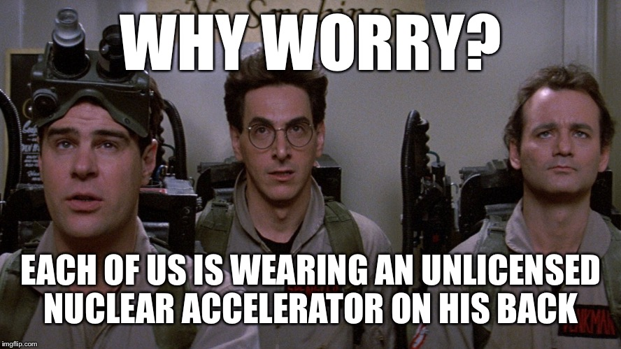 What, me worry? | WHY WORRY? EACH OF US IS WEARING AN UNLICENSED NUCLEAR ACCELERATOR ON HIS BACK | image tagged in ghostbusters,busted,ghosts,positron collider,who you gonna call | made w/ Imgflip meme maker