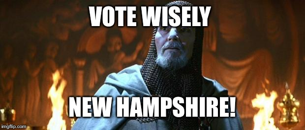 No vote is a vote for the winner. | VOTE WISELY NEW HAMPSHIRE! | image tagged in holy grail,primary,new hampshire,vote | made w/ Imgflip meme maker