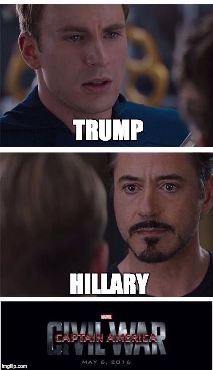 Marvel Civil War 1 Meme | TRUMP HILLARY | image tagged in memes,marvel civil war 1 | made w/ Imgflip meme maker