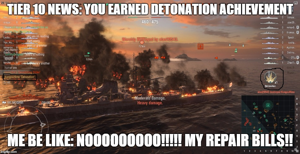Detonated by an opponent |  TIER 10 NEWS: YOU EARNED DETONATION ACHIEVEMENT; ME BE LIKE: NOOOOOOOOO!!!!! MY REPAIR BILLS!! | image tagged in memes | made w/ Imgflip meme maker