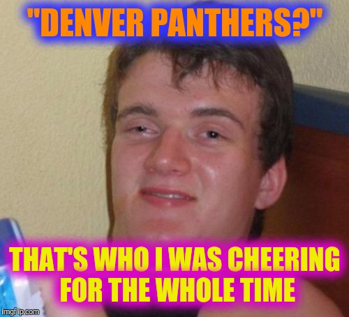 "10 Guy Meme | ""DENVER PANTHERS?"" THAT'S WHO I WAS CHEERING FOR THE WHOLE TIME 