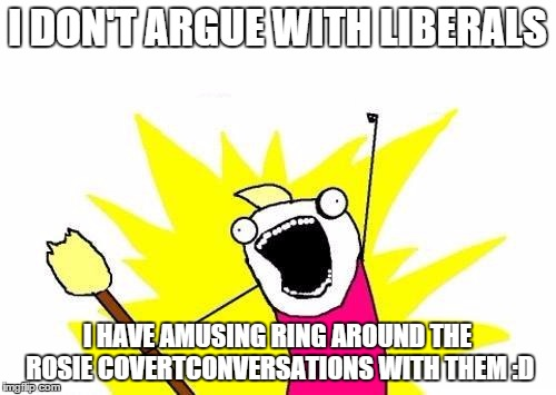 X All The Y Meme | I DON'T ARGUE WITH LIBERALS I HAVE AMUSING RING AROUND THE ROSIE COVERTCONVERSATIONS WITH THEM :D | image tagged in memes,x all the y | made w/ Imgflip meme maker