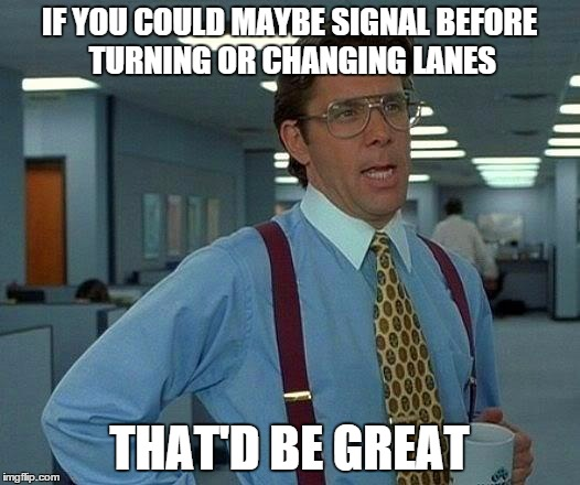 turn indicators... use them! | IF YOU COULD MAYBE SIGNAL BEFORE TURNING OR CHANGING LANES THAT'D BE GREAT | image tagged in memes,that would be great,signal,turning,changing lanes | made w/ Imgflip meme maker