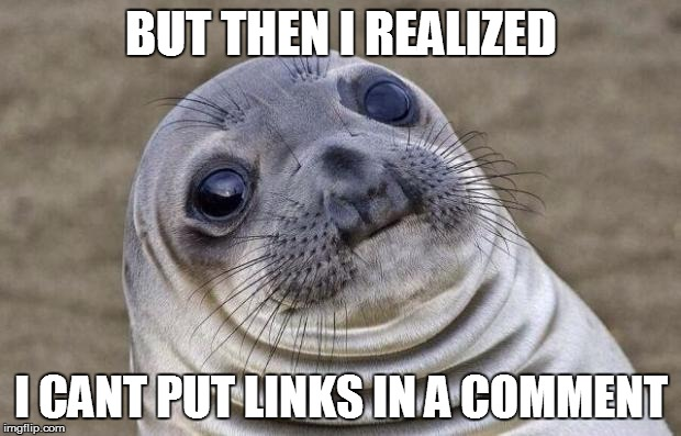 BUT THEN I REALIZED I CANT PUT LINKS IN A COMMENT | image tagged in memes,awkward moment sealion | made w/ Imgflip meme maker