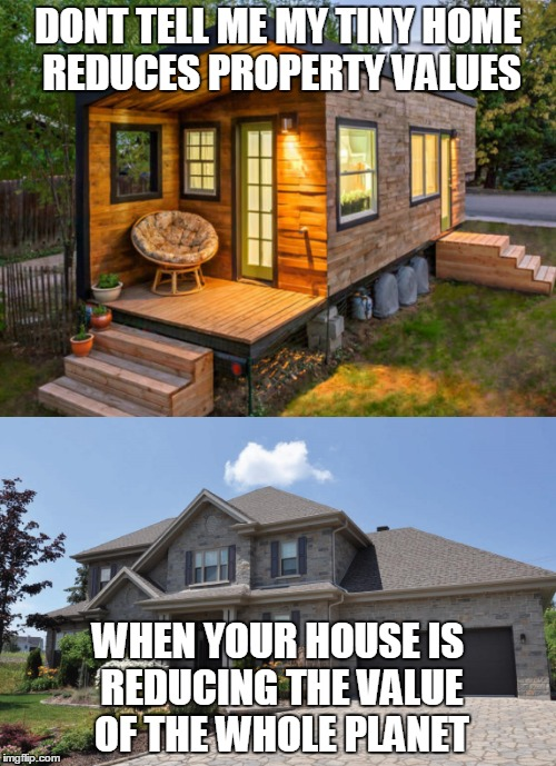 Tiny vs Mansion |  DONT TELL ME MY TINY HOME REDUCES PROPERTY VALUES; WHEN YOUR HOUSE IS REDUCING THE VALUE OF THE WHOLE PLANET | image tagged in scale down,live free,tiny homes,tiny home movement | made w/ Imgflip meme maker