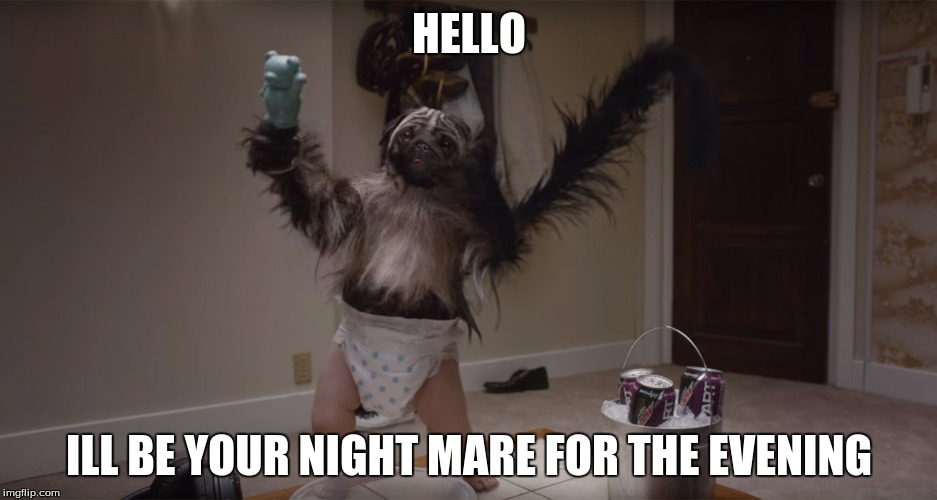 Puppy-Monkey-Baby | HELLO ILL BE YOUR NIGHT MARE FOR THE EVENING | image tagged in puppy-monkey-baby | made w/ Imgflip meme maker