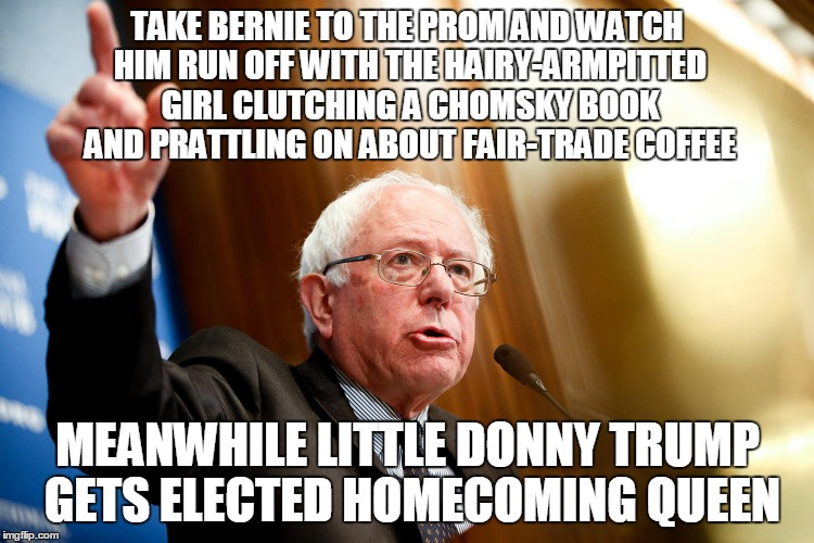 modern politics isn't about romantic ideals, it's about keeping the biggest idiots from office | TAKE BERNIE TO THE PROM AND WATCH HIM RUN OFF WITH THE HAIRY-ARMPITTED GIRL CLUTCHING A CHOMSKY BOOK AND PRATTLING ON ABOUT FAIR-TRADE COFFE | image tagged in bernie sanders,election 2016,politics | made w/ Imgflip meme maker