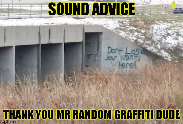 truth in graffiti  | SOUND ADVICE THANK YOU MR RANDOM GRAFFITI DUDE | image tagged in truth in graffiti,funny,memes,graffiti,bridge,meme | made w/ Imgflip meme maker