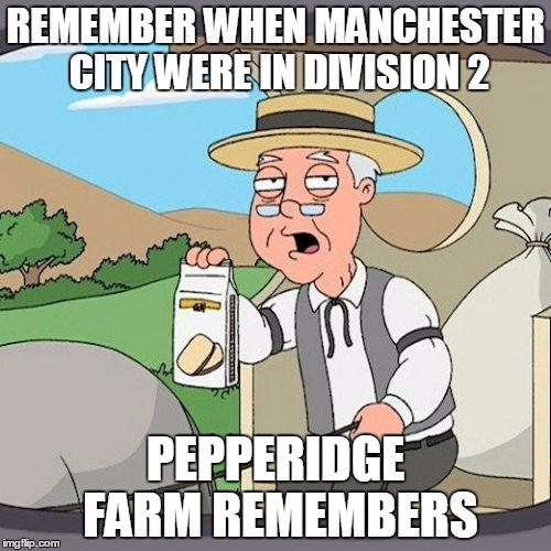 Pepperidge Farm Remembers | REMEMBER WHEN MANCHESTER CITY WERE IN DIVISION 2 PEPPERIDGE FARM REMEMBERS | image tagged in memes,pepperidge farm remembers | made w/ Imgflip meme maker