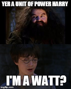 physics... |  YER A UNIT OF POWER HARRY; I'M A WATT? | image tagged in physics,harry potter,hagrid,puns,watt | made w/ Imgflip meme maker
