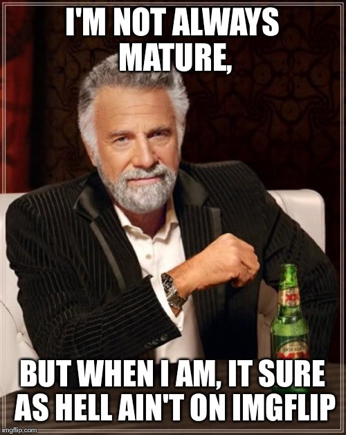 The Most Interesting Man In The World Meme | I'M NOT ALWAYS MATURE, BUT WHEN I AM, IT SURE AS HELL AIN'T ON IMGFLIP | image tagged in memes,the most interesting man in the world | made w/ Imgflip meme maker
