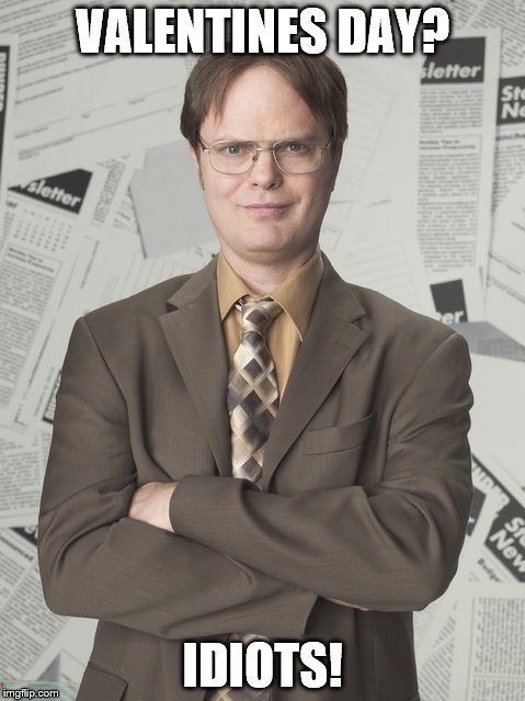 Dwight Schrute 2 | VALENTINES DAY? IDIOTS! | image tagged in memes,dwight schrute 2 | made w/ Imgflip meme maker