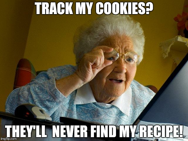 Grandma Finds The Internet Meme | TRACK MY COOKIES? THEY'LL  NEVER FIND MY RECIPE! | image tagged in memes,grandma finds the internet | made w/ Imgflip meme maker