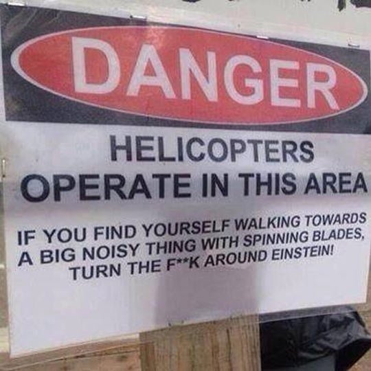 helicopter warning sign Blank Template - Imgflip