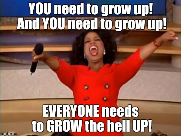 Oprah You Get A Meme | YOU need to grow up! And YOU need to grow up! EVERYONE needs to GROW the hell UP! | image tagged in memes,oprah you get a | made w/ Imgflip meme maker