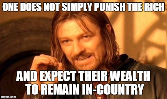 One Does Not Simply Meme | ONE DOES NOT SIMPLY PUNISH THE RICH AND EXPECT THEIR WEALTH TO REMAIN IN-COUNTRY | image tagged in memes,one does not simply | made w/ Imgflip meme maker